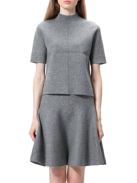 Knitted Casual Two Piece Stand Collar Mini Dress