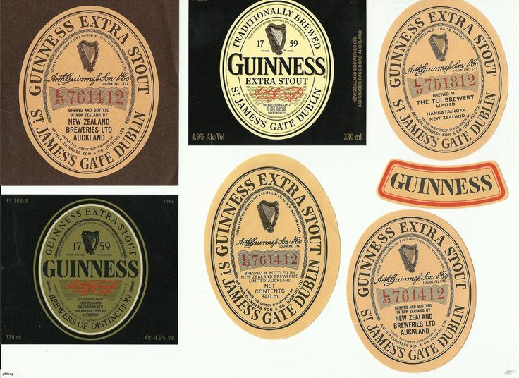 6 Guinness beer labels, brewed in NZ.