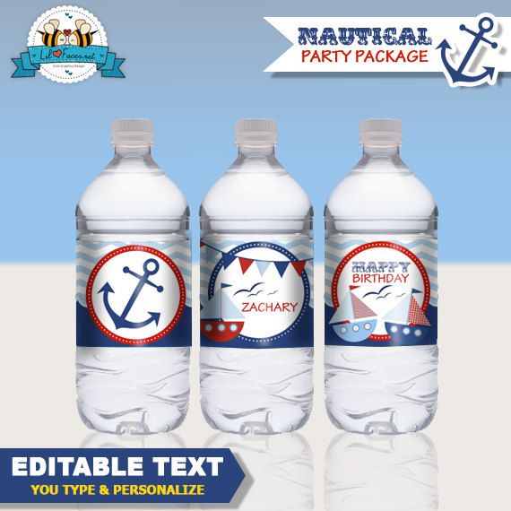 Editable Nautical Boat Birthday Party Water by LilFacesPrintables, $4.95