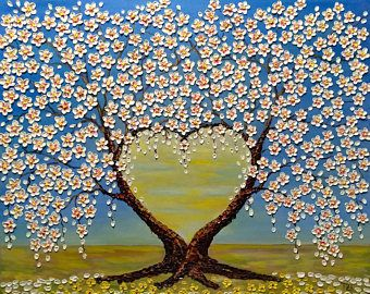 Cherry Blossom Trees Love Portal  FREE SHIPPING Original oil impasto painting  on Stretched Canvas  02-07 Ready to ship