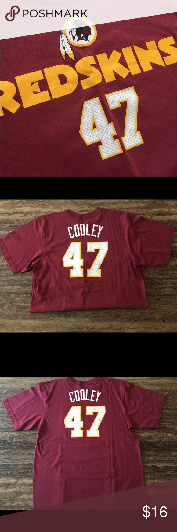 """REDSKINS COOLEY TEE SHIRT  #47 SIZE LARGE This is a nice preowned shirt.  The Redskin fan must have Cooley #47 in a size large .  The flat chest measures 22"""" across and and 31"""" long the sleeve length is 9 3/4"""".  The shirt is made by Reebok and it is 100% cotton. There is a few slight faded spot on the shirt, shows some signs of wear.  see photos for more condition details . Questions please ask Reebok Shirts Tees - Short Sleeve"""