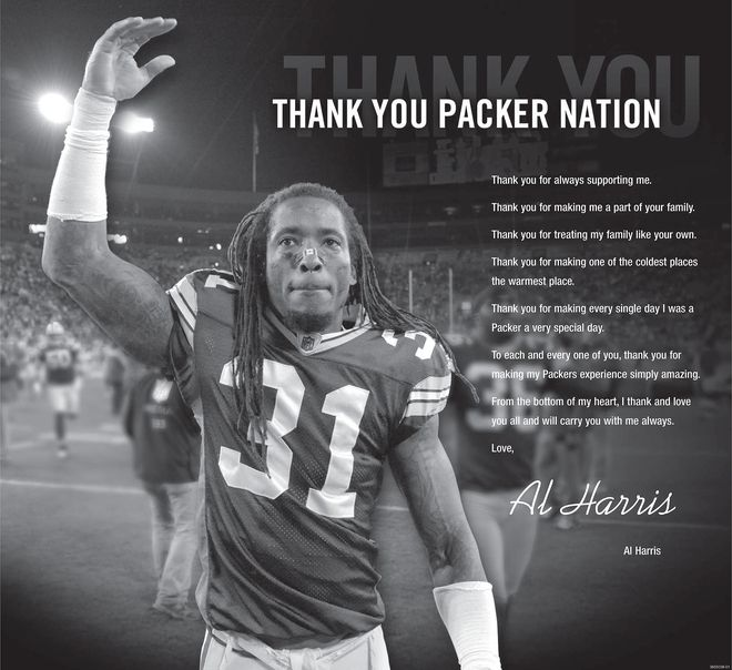 """In case you missed it in Sunday's Journal Sentinel, here's Al Harris' classy """"Thank You"""" note to Packer fans. (click on headline to see note)"""
