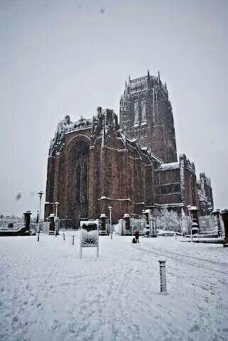 Liverpool cathedral with snow