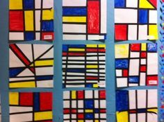 Mondrian for kids, Mondrian art project, art project for kid, master artists, abstract art project for kids. Do with jazz music!