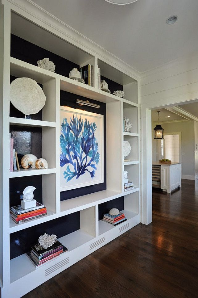 Beach Cottage with Transitional Coastal Interiors. This would be a great focal wall...