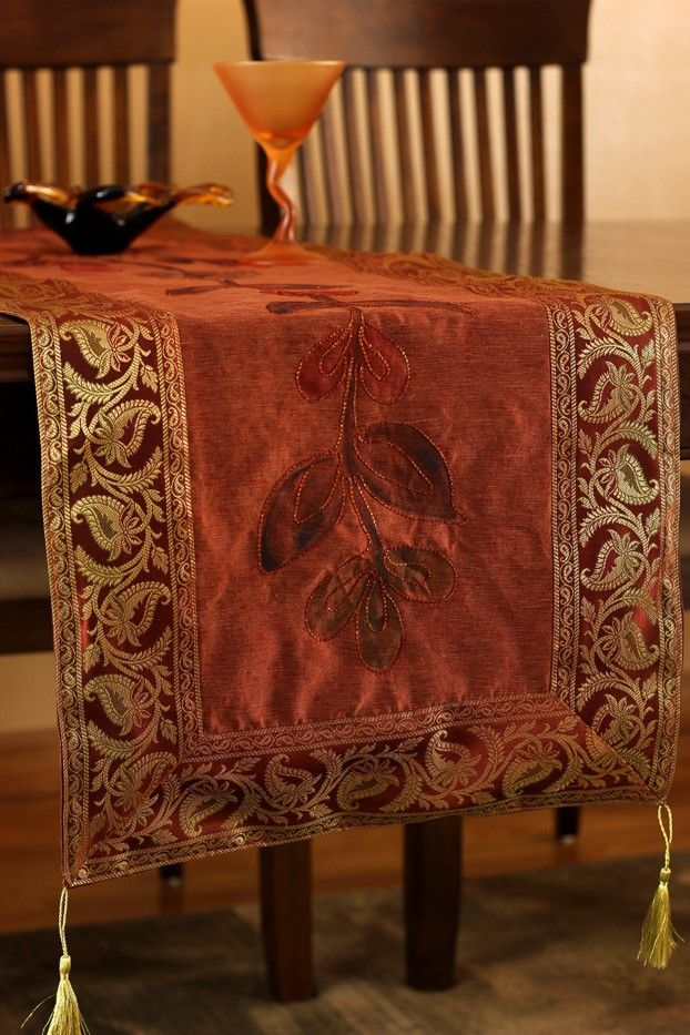 Fall Table Runner in Gorgeous Rustic Orange #thanksgiving http://www.banarsidesigns.com/hand-painted-deluxe-table-runner.html