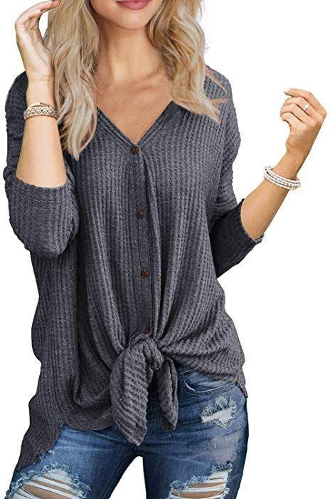 e0256a2c9 IWOLLENCE Womens Waffle Knit Tunic Blouse Tie Knot Henley Tops Bat Wing  Plain Shirts Light Gray S at Amazon Women's Clothing store: