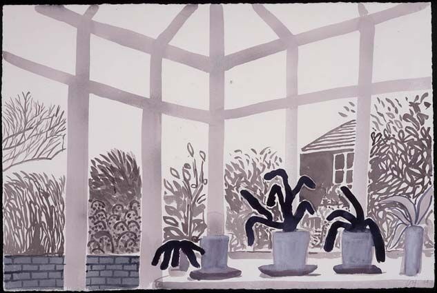 David HockneyArt Work, Art Hockney, David Hockney, Bigger Conservatory, 2004 Watercolors, Watercolour, Art Illustration, Conservatory Ii, Yorkshire Landscapes