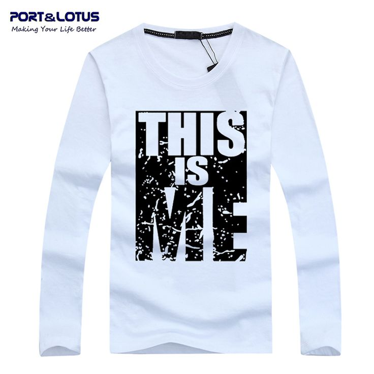 Port&Lotus Men T Shirt  Cotton  Long Sleeve Young Style Letter Printed Slim Fit Fitness Men Clothes 168 wholesale