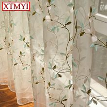 Pastoral Leaves Embroidered Voile Curtains Bedroom Sheer Curtains for Living Room Tulle Window treatment Curtains for kids  (China (Mainland))