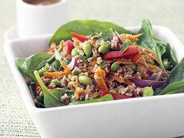 Healthified Vegetarian Thai Salad with Peanut DressingTasty Recipe, Vegetarian Thai, Dressingth Chicken, Food, Thai Salad, Peanut Dressingth, Healthified Thai, Peanut Dresses, Chicken Broth