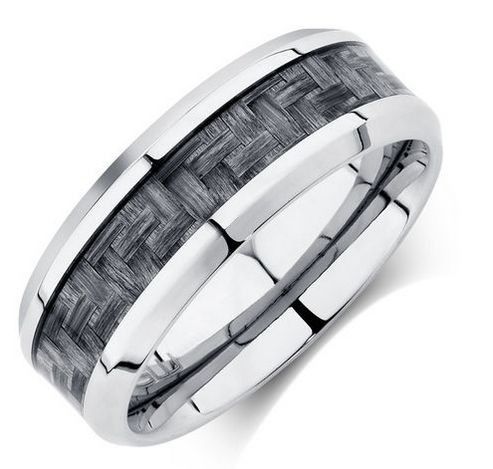 Michael Hill for Father's Day - Men's Ring in Grey Carbon Fibre & Stainless Steel, RRP $119, now $89