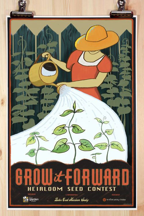 Grow it Forward Heirloom Seed Contest Official Poster. $14.00, via Etsy.: Gardens Ideas, Seeds Contest, Picture-Black Posters, Heirloom Seeds, Art, Contest Posters, Growing, Baker Creek, Victorious Gardens