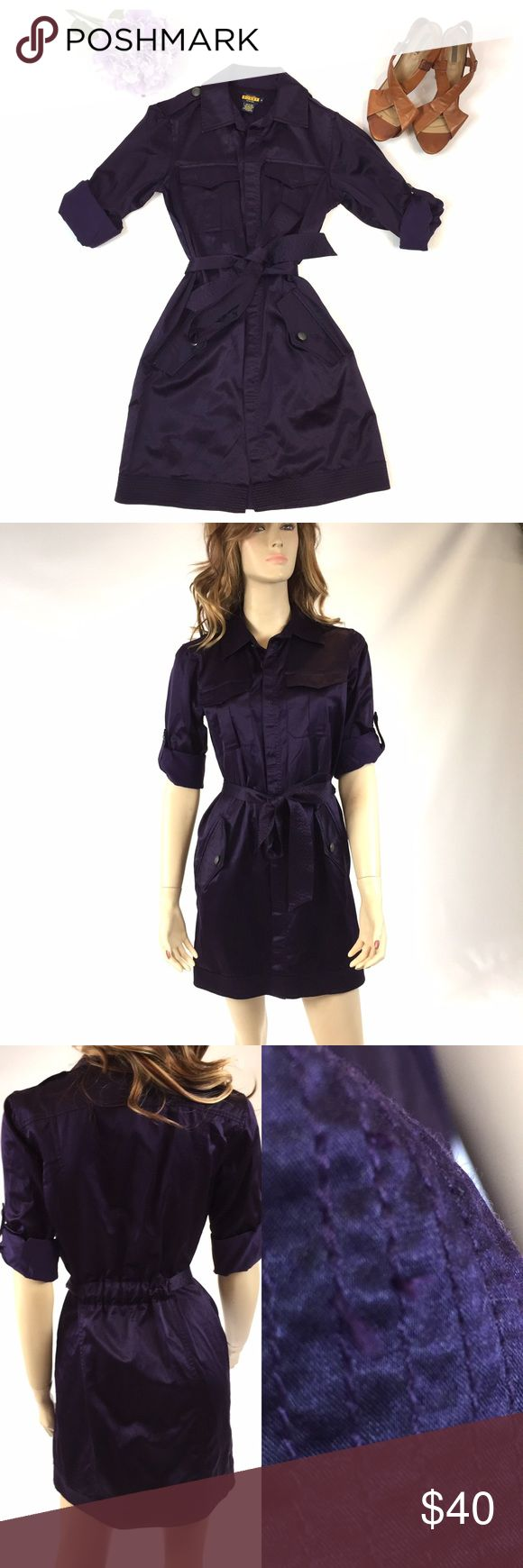 RALPH LAUREN RUBY PURPLE DRESS SIZE 2 GOOD CONDITION!  RUBY RALPH LUAREN  PURPLE DRESS SIZE 2  55% SILK, 45 % COTTON DRY CLEAN ONLY!  VERY STYLISH DRESS WITH THE SLEEVES ROLLED UP STYLE AND TIE AT THE WAIST!  CAN BE WORN FOR BUSINESS OR FOR A NIGHT OUT! HAS LOOSE THREADS ON BELT AND SHOULDER!  SMOKE FREE HOME Ralph Lauren Dresses
