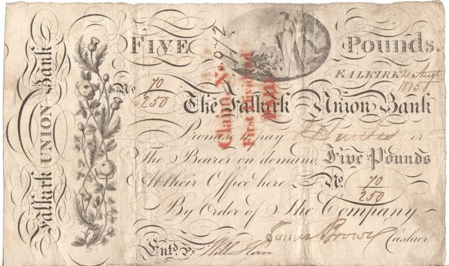Great Britain 21 Aug 1815 - The Falkirk union bank 5 pound banknote - serial no 70250