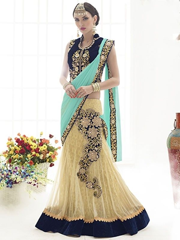 Fabulous Sky Blue Colored Net Designer Saree - Exclusive Collection