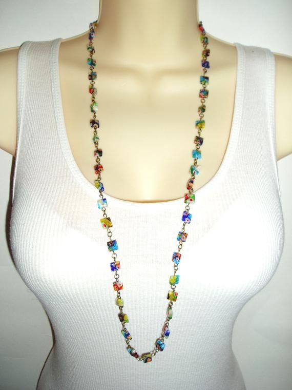 Colorful Long Beaded Necklace - Millefiori Beads in Multicolored Design in Long or Double Strand Cho