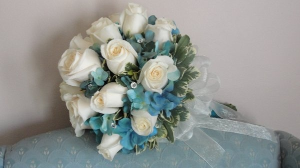 Ivory and tiffany blue bridal bouquet