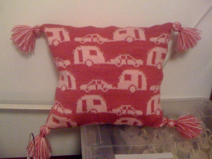 Caravan Knitting Pattern : machine knitted caravan cushion Machine knitting clothes + fabric Pintere...