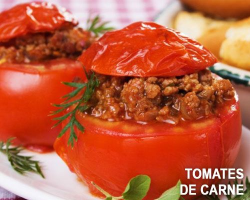 Tomates rellenos de carne - muy fácil