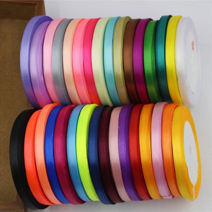 """16691-A, 6 מ""""מ סרט סאטן משי 32 צבע יכול לבחור 25 מטרים, סרטים דקורטיביים חתונה, לעטוף מתנות, חומרי עבודת יד diy"""