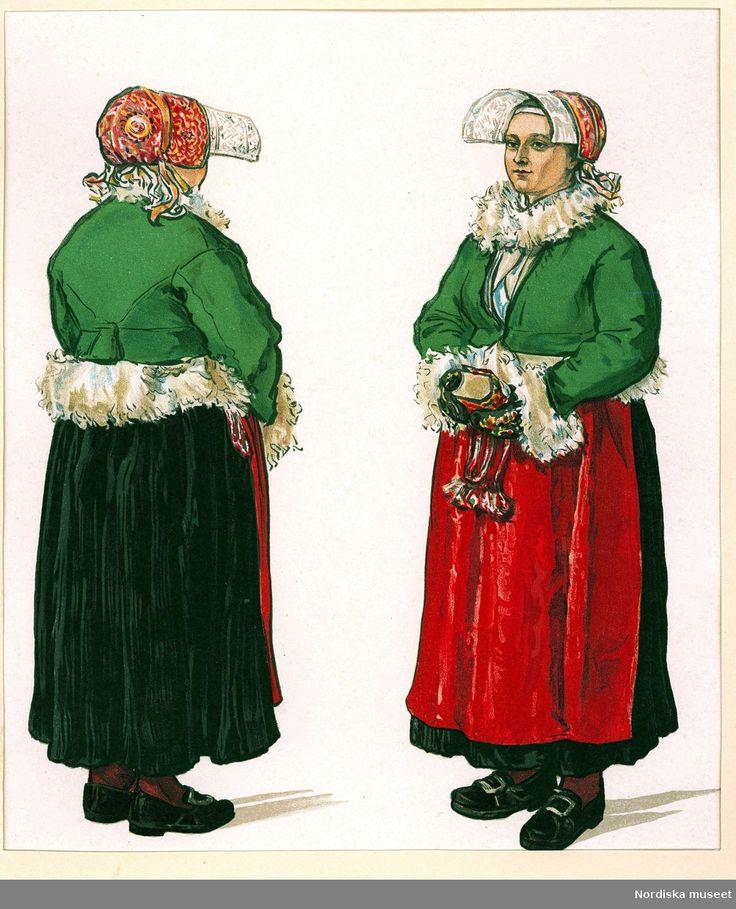 Folkdräkt. Vinterdräkt för gift kvinna. Gagnef socken, Dalarna. Bildtryck efter akvarell av Emelie von Walterstorff. (Sv. Folkdräkter pl. XXI) @…
