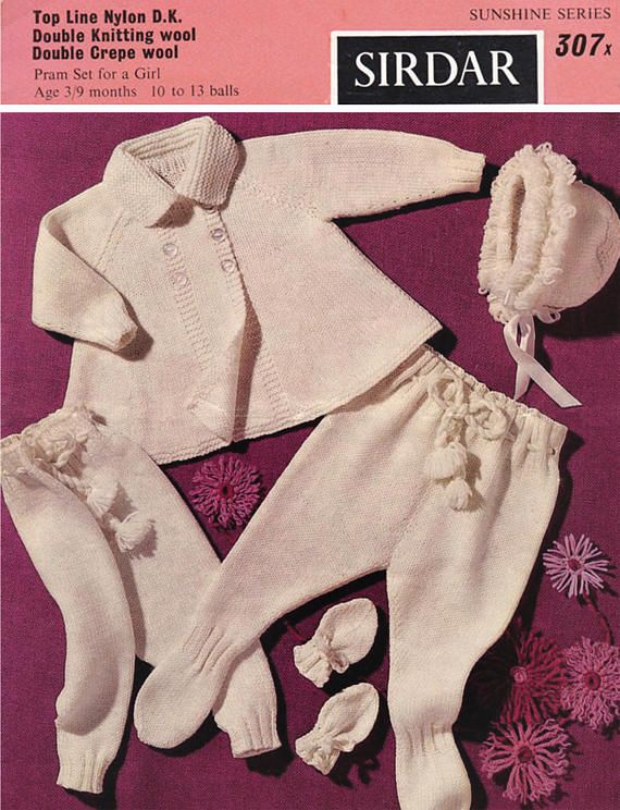 PDF Vintage Sirdar 307 Sunshine Series Baby Knitting Pattern
