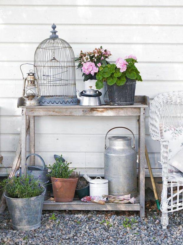 on my back porch. Garden Vignette