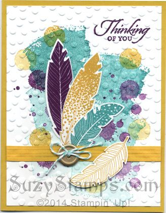 Stampin' Up! Cards - 2014-10 Class - Four Feathers, Gorgeous Grunge, Work of Art and Wetlands stamp sets, Feathers Framelits Dies, Decorative Dots Embossing Folder