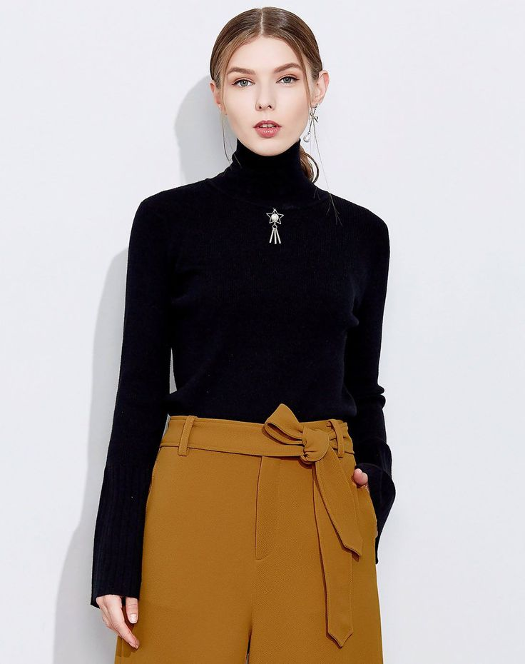 #VIPshop Black Plain High Neck Pullover Long Sleeve  Women's Knitwear ❤️ Get more outfit ideas and style inspiration from fashion designers at VIP.com.