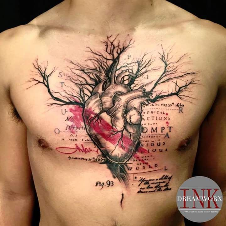 First Tattoo! Heart Tree Chest Piece by Lu at Dreamworx Ink in Vaughn, Ontario - Imgur