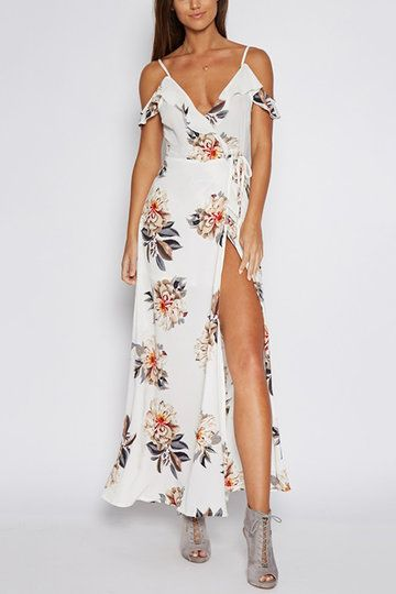 Sexy Cold Shoulder Random Floral Print Maxi Dress With Splited Hem
