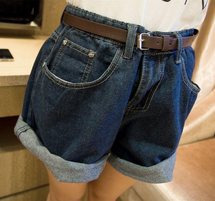 Женщины Мода Твердые Джинсовые Шорты Летом Высокой Талии Свободные Шорты Широкую Ногу Плюс Размер Обжимной Джинсы Шорты без пояса K027 купить на AliExpress