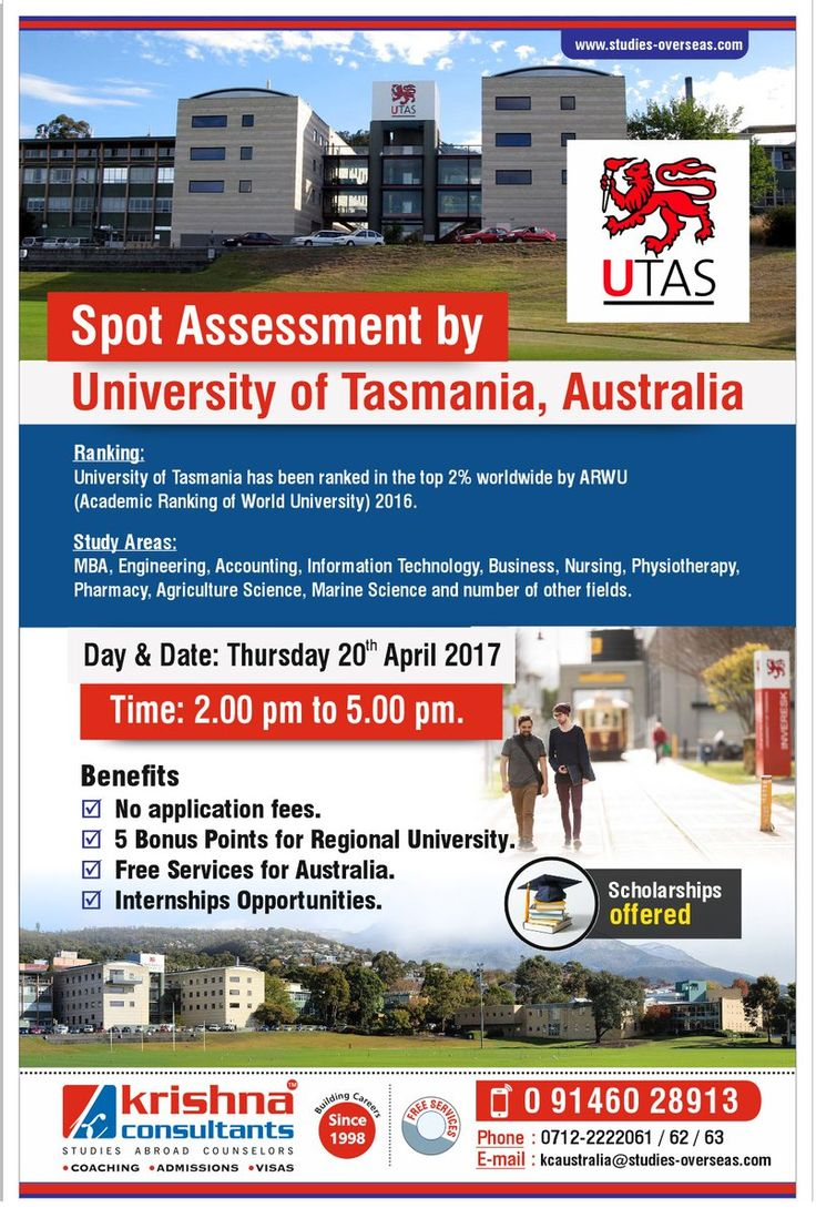 Spot Assessment by University of Tasmania, Australia for July 2017 and Feb 2018 Intakes @Krishna Consultants Nagpur.. Date: 20th April 2017, Time: 2.00 pm to 5.00 pm To know more information, read here: http://events.studies-overseas.com/Events/EventRegistration?event=kkYFCb1J3xA%3D