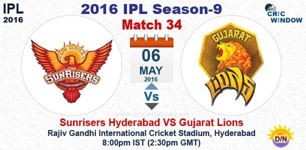 IPL: Match 34 : Hyderabad vs Gujarat Live Rajiv Gandhi Stadium, Hyderabad http://www.cricwindow.com/cricket-live-match-video.html http://www.cricwindow.com/cricket_live_scores.html