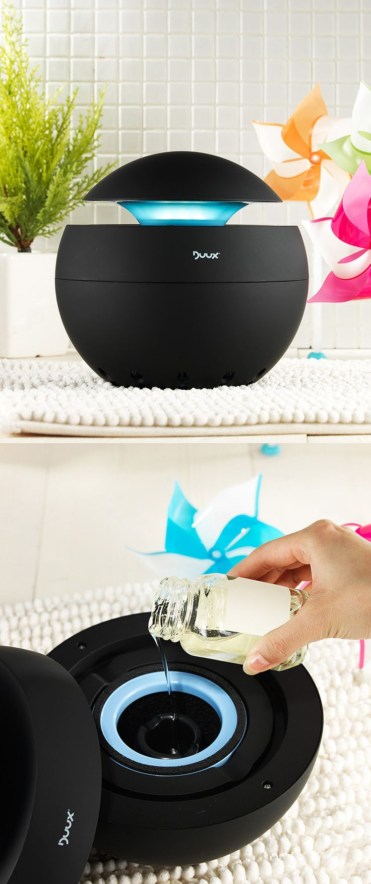Humidifier + Vaporizer - pour lavender or eucalyptus in the oil tank for aromatherapy.