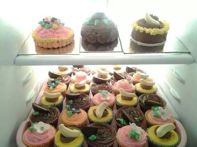 Lemon, choc mint & banana cupcakes