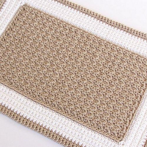 Beige and White Crochet Rug