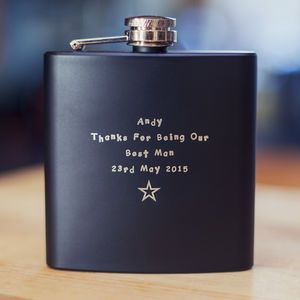 Personalised Black 6oz Hip Flask - best gifts for fathers