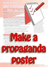 Activity worksheet asking pupils to make a propaganda poster in the style of the posters made during WW1