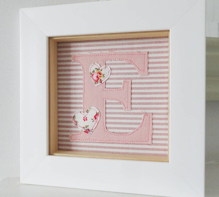 Girls Framed Embroidered Initial Artwork from notonthehighstreet.com