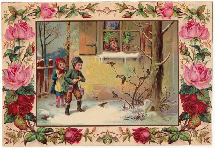 Oblaten Glanzbild  scrap die cut chromo /  Litho Kinder im Winter  29 cm