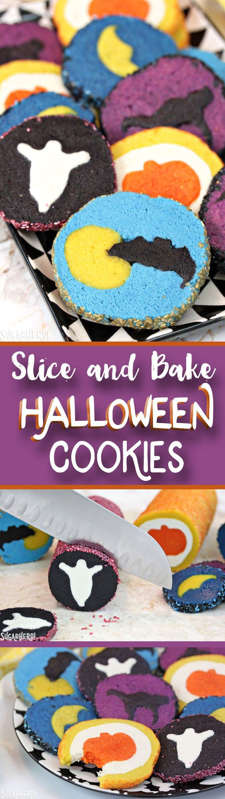 Slice and Bake Halloween Cookies are fun Halloween sugar cookies with surprise designs hidden inside! | From SugarHero.com