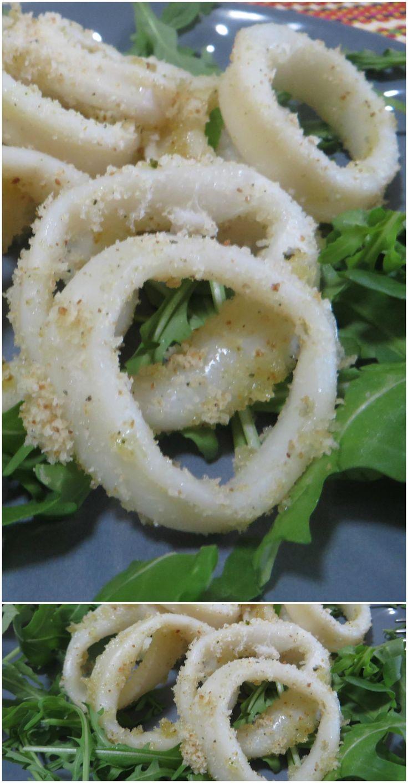 Anelli di calamari, cotti in forno! Leggeri e gustosi! #calamari #pesce #ricettegustose