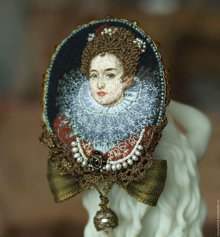 """Купить Брошь-кулон """"Портрет Изабеллы"""" - комбинированный, винтажный стиль, старинный стиль, брошь"""