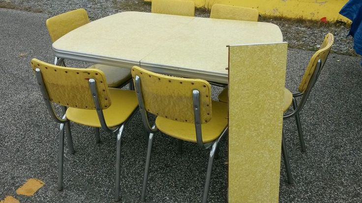 Vintage Formica Table Retro Yellow 1950s Table W 6
