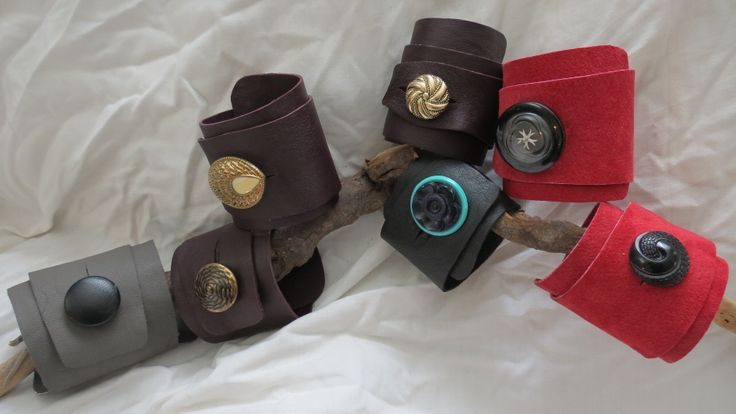 leather cuffs with vintage button reclaimed leather from vintage coats