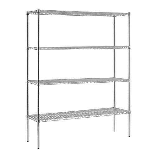 """Sandusky WS601874-C Chrome Steel Heavy Duty Adjustable Wire Shelving, 2400 lbs Capacity, 60"""" Width x 74"""" Height x 18"""" Depth, 4 Shelves by Sandusky Lee. $189.00. Chrome wire shelving. Strong and durable welded wire construction with open design permits sprinkler, air and light penetration and reduces dust build-up. Includes four shelves that easily adjust in 1"""" increments. Adjustable levelers for uneven flooring. The four shelves are fully adjustable. Contemporary..."""