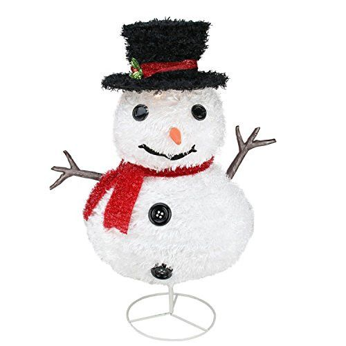 Felices Pascuas Collection 30 inch Pre-Lit Outdoor Chenille Snowman Kid w/ Top Hat Christmas Yard Art Decoration