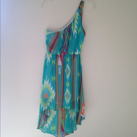 """One strap dress One strap • Colorful • High/low • Elastic • The """"one"""" strap side is two straps (see pic) • Dresses High Low"""